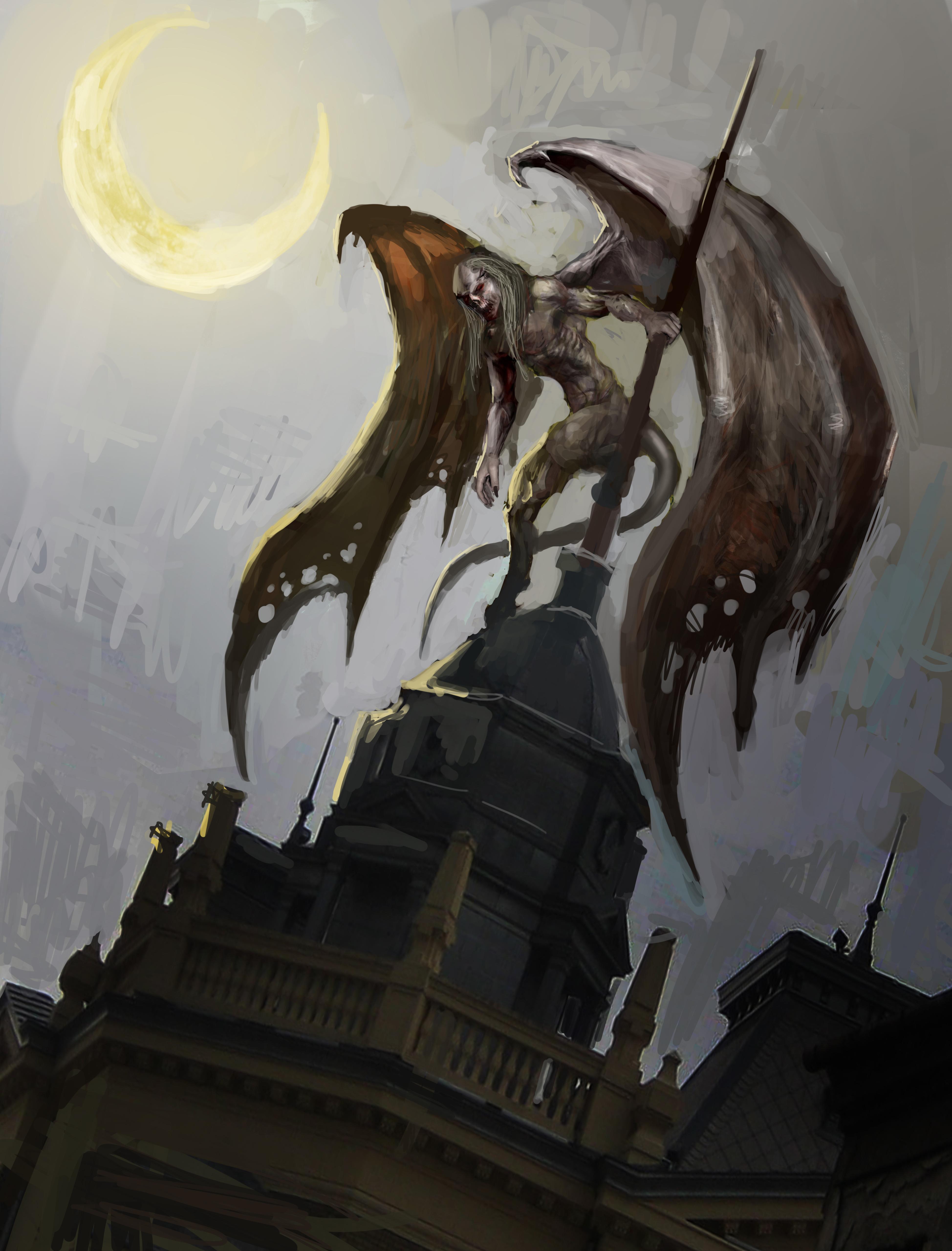 gargoyle on city tops under moonlight