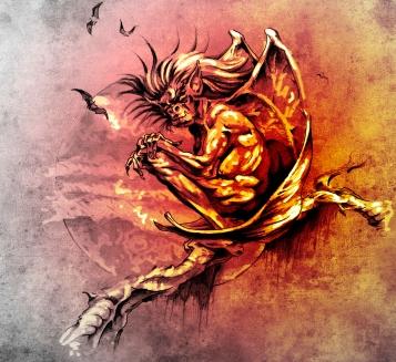 Sketch of tattoo art, gargoyle monster sitting in a tree